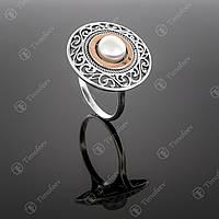 Серебряное кольцо с жемчугом. Артикул П-240
