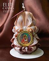 Церковная свеча на подарок, резная ручной работы, 12 см высотой