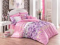 Двуспальное турецкое постельное бельё Majoli Mona v1Lila B08