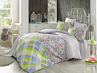 Двуспальное турецкое постельное бельё Majoli Flory v1Lila B08
