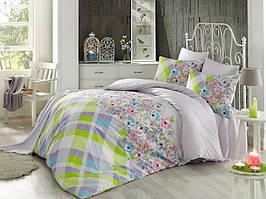 Комплект постельного белья двуспальный евро Majoli Flory v1Lila B08