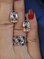 Серебряный комплект серьги и кольцо с золотыми вставками