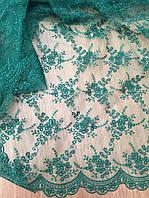 Ткань Гипюр   вышитый зеленый изумрудный купить оптом АРТ ТЕКСТИЛЬ