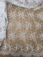 Гипюр белый свадебный ,гипюр вышитый,вышитый гипюр для пошива свадебных платьев купить украина