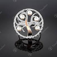 Серебряное кольцо с жемчугом и фианитами. Артикул П-350