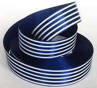 Лента атласная полосатая сине-белая 25 мм, фото 1