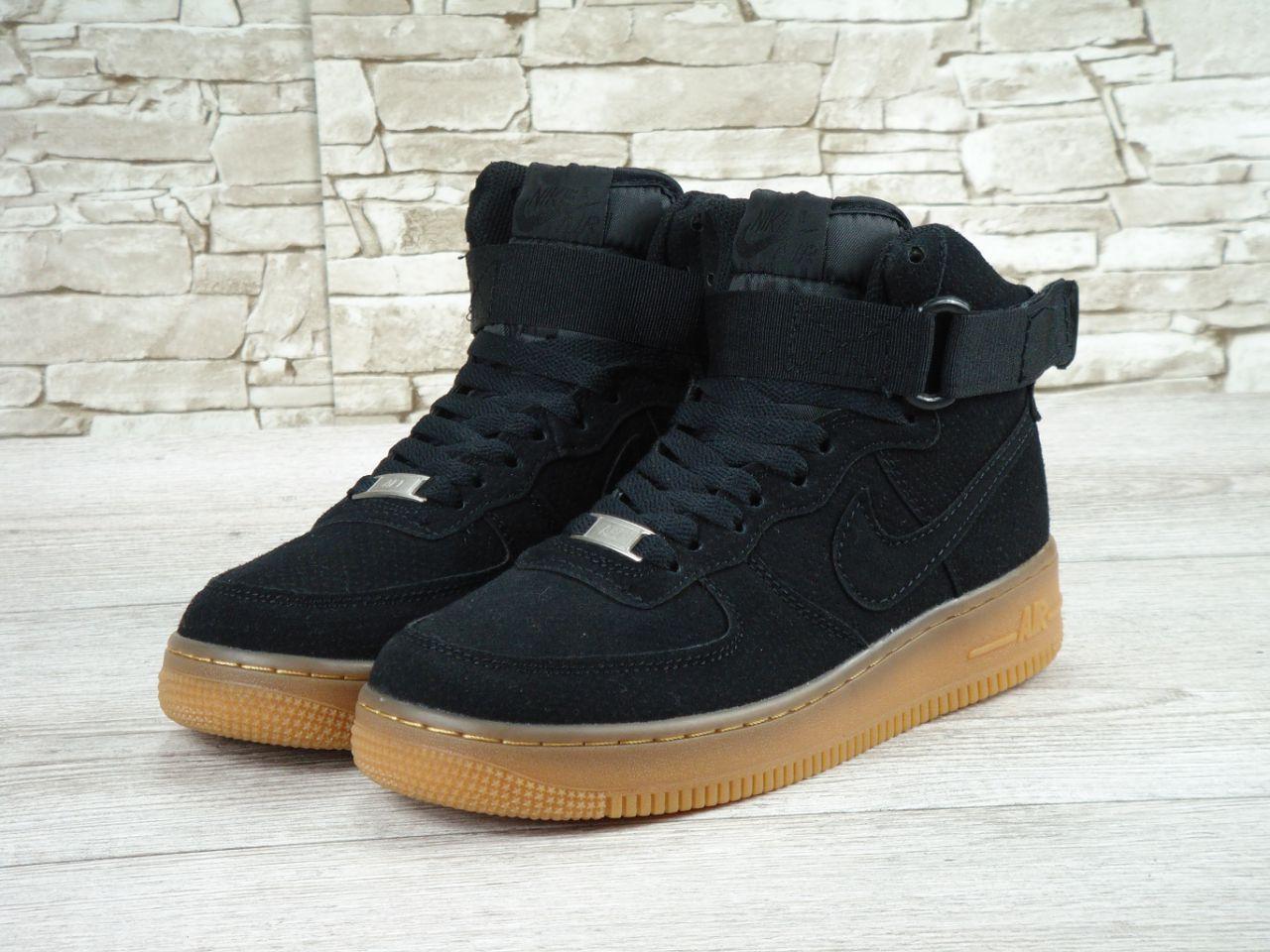 317c568f Кроссовки в стиле Nike Air Force High Suede Black Gum мужские - Интернет- магазин «