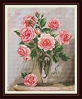Набор для вышивания нитками Розы на мраморном столике