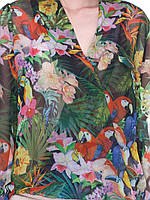 Блуза на запах попугаи 48, Весна/осень, Украина, Цветочный принт и растительные узоры