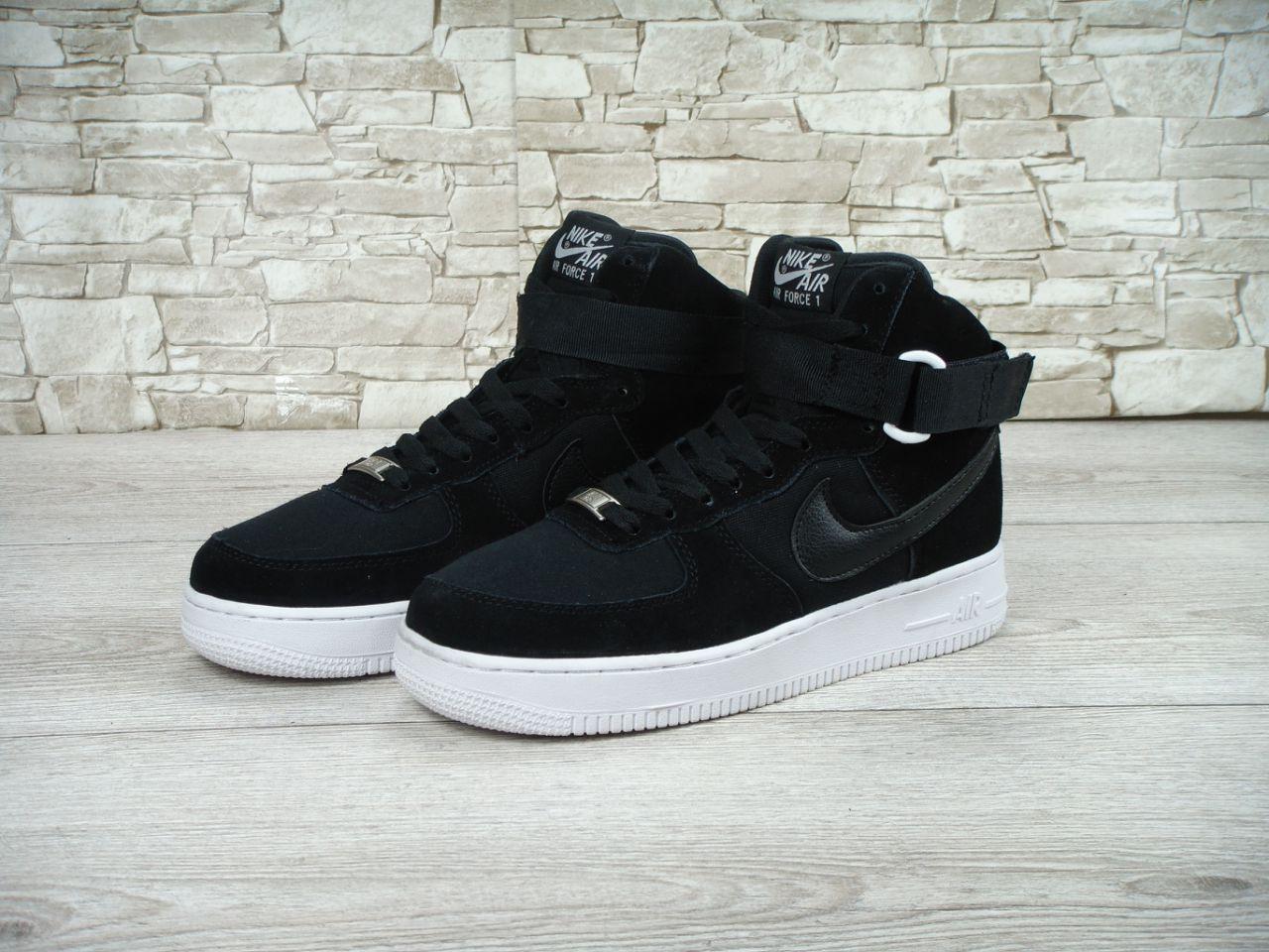 Кроссовки в Стиле Nike Air Force High Black Suede Мужские — в ... 5c6fe7c638037
