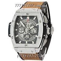 Часы мужские наручные Hublot Spirit of Big Bang Titanium Pave Brown-Silver-Black