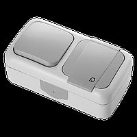 Выключатель 1 + Розетка с/з  PALMIYE  IP54 (серый)