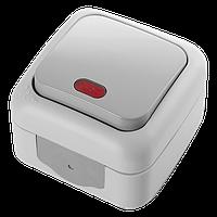 Выключатель 1кл. с подсвет. PALMIYE  IP54 (серый)