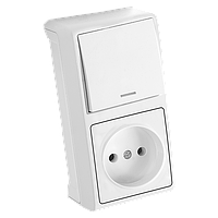 Вертикальный блок Выключатель с подсв. + Розетка VERA IP20  (белый)