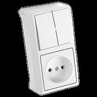 Вертикальный блок Выключатель 2кл. + Розетка VERA IP20  (белый)