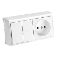 Горизонтальный блок Выключатель 2кл. + Розетка VERA IP20  (белый)