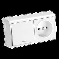 Горизонтальный блок Выключатель с подсв. + Розетка VERA IP20  (белый)