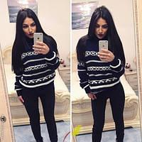 Стильный женский свитер с узором / Украина / вязка