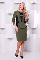Женское вечернее платье Елена оливка (экокожа) размер 50-58 / батальное