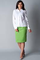Хлопковая белая женская рубашка с рельефными швами, Р93