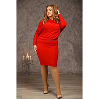 Женское свободное платье баталл Луиза цвет красный размер 58