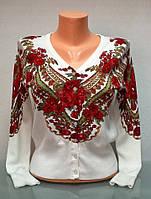 Кофта женская на пуговицах с рисунком и вышивкой