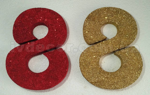 Декор к 8 Марта 8M17202W из пенопласта ПСБ-С-35ТУ покрытая глиттером красного и золотого цвета. Размер 20*15*2 см.