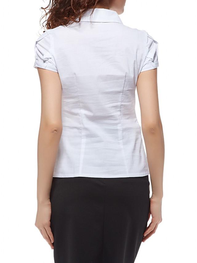 Классическая белая женская рубашка с коротким рукавом  Р93