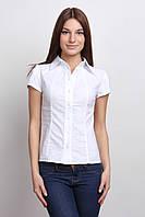 Классическая белая женская рубашка с коротким рукавом  Р93, фото 1