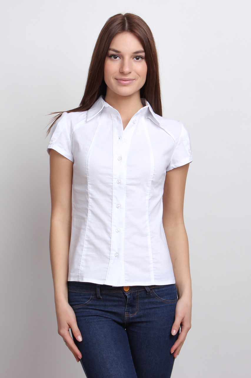 d57a8508ba06 Классическая белая женская рубашка с коротким рукавом Р93