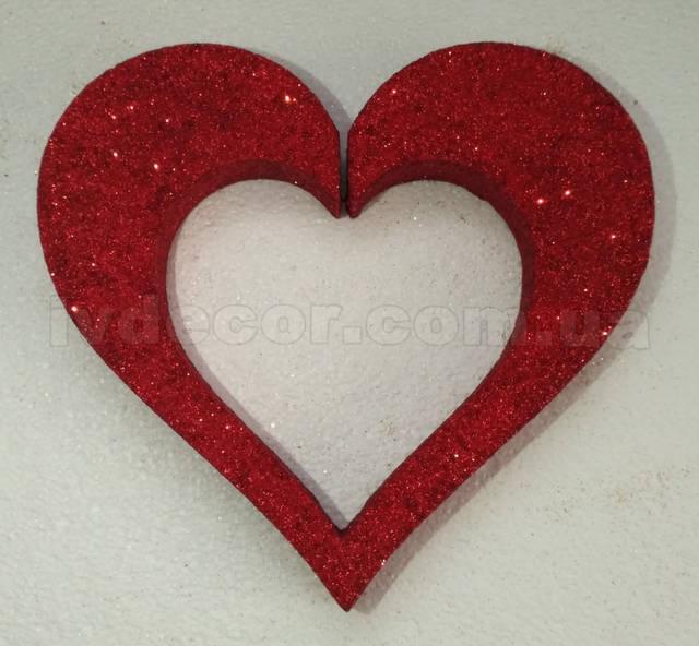 Сердце из пенопласта H08 покрытое глиттером красного и золотого цвета.