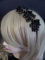 Обруч для волос красивые темно серые цветы ободок диадема