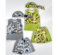 Комплект безрукавка комби + шорты + бандана интерлок цветной на мальчика  00913_SoF
