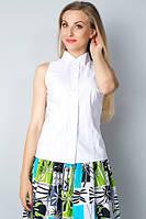 Белая блузка-американка без рукавов Р100