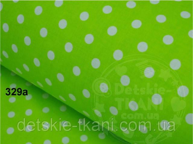 Отрез ткани №329а  с белым горошком 1 см на салатовом фоне размер 72*160