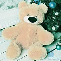 Маленький плюшевый медвежонок Бублик 55 см (персиковый), фото 1