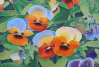 Картина батик «Фиалки» на натуральном шелке ручная роспись
