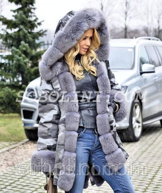 """Парка хаки с мехом финского песца цвета grey. Зимняя теплая вещь """"Samantha"""""""