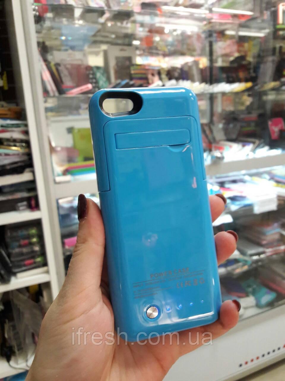 Чехол Аккумулятор для iPhone SE/5S/5, голубой