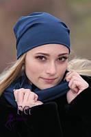 Набор шапка и шарф темно-синий, шапки осень