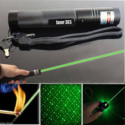 Лазерная указка 303 зеленая с аккумулятором 8000mw, фото 2