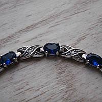 Серебряный женский браслет с синими фианитами, 200мм