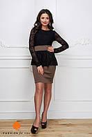 Элегантное женское платье низ дайвинг, верх красивый кружевной гипюр. Цвет черный с бежевым