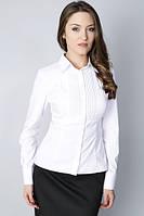 """Белая хлопковая деловая блуза, воротник - рубашечный,  """"2 ЛЬВА"""""""