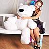 Красивая мягкая игрушка Плюшевый мишка Бублик 70 см (белый)