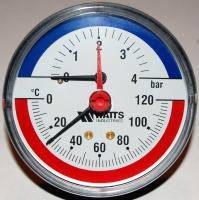 """Термоманометр аксиальный Watts F+R818 80 1/2"""", 0-4 бар, 120 гр"""