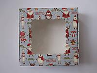 Новогодняя коробка Merry Christmas Снеговик с окошком 150*150*50