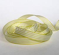 Лента полосатая салатово-белая 16 мм, фото 1