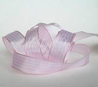 Лента полосатая св.розово-белая 25 мм, фото 1