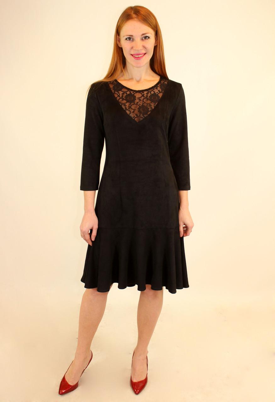 Платье с воланом по низу 44-50 р ( красный, синий, электрик )